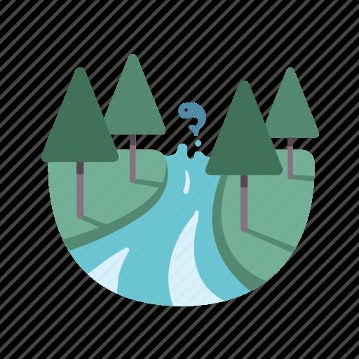 fish, landscape, nature, river, torrents icon