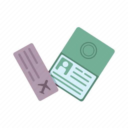 and, boarding pass, document, identification, passport, ticket, ticket and passport, travel icon