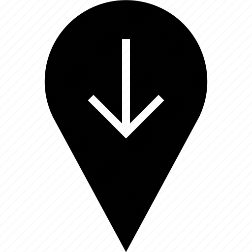 arrow, down, location icon