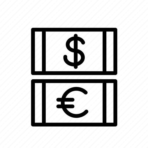 bill, business, currency, dollar, euro, finance, money icon