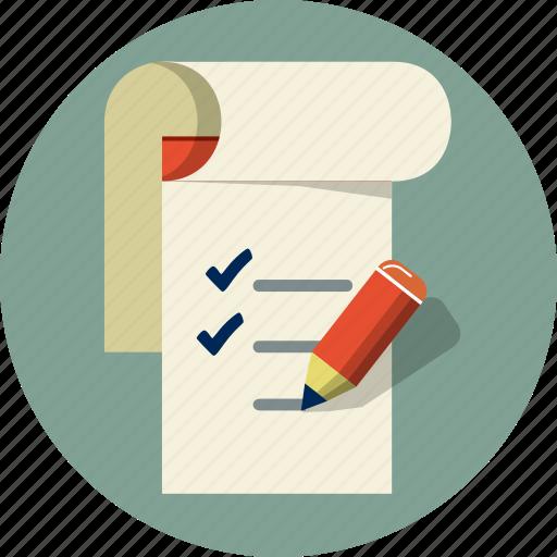 checklist, file, list, note book, pen, pencil, to do list icon