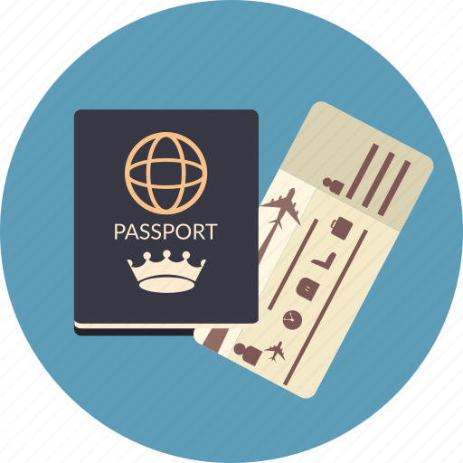 airline, boarding, documents, id, passport, ticket, travel icon
