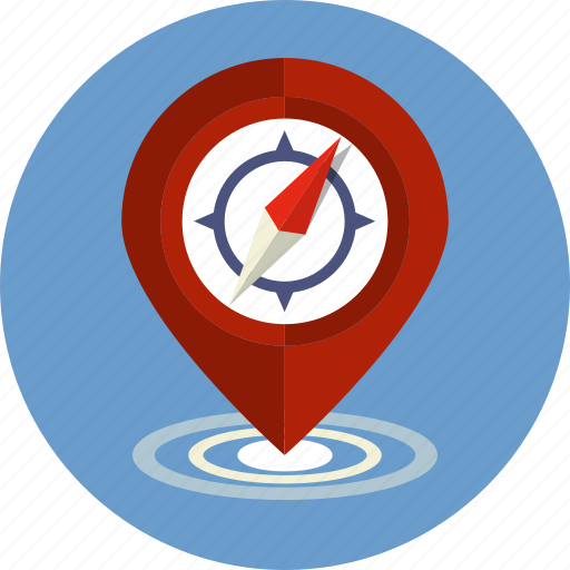 compass, direction, gps, map, navigation, pointer, road icon