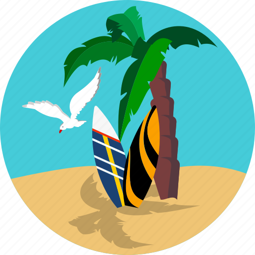 Beach Holiday Palm Seagull Surfer Tourism Travel Icon