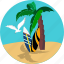 beach, holiday, palm, seagull, surfer, tourism, travel icon
