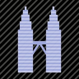 kuala lumpur, malaysia, petronas, towers icon