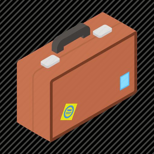 Map, isometric, handle, tourist, travel, bag, tour icon
