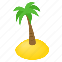 island, isometric, palm, resort, sea, summer, tree icon