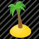 summer, isometric, island, tree, resort, palm, sea
