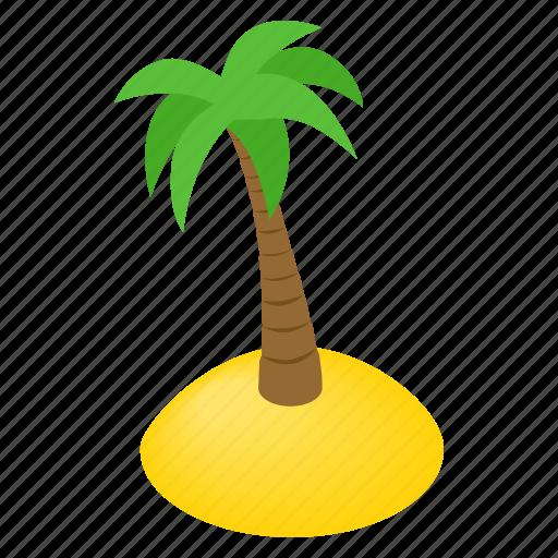 island, isometric, palm, resort, sea, summer, tree icon