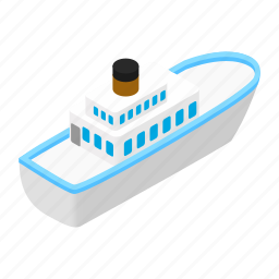 boat, isometric, sea, ship, steamship, transport, transportation icon