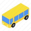 bus, isometric, shuttle, tourist, transport, travel, vehicle icon