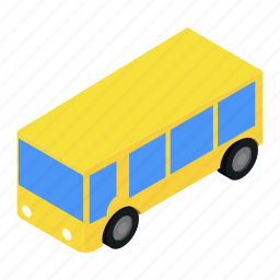 bus, isometric, shuttle, tourist, transport, travel, vehicle icon