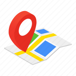 colored, gps, isometric, location, map, marker, pin icon