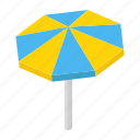 background, beach, isometric, parasol, sun, sunshade, umbrella icon