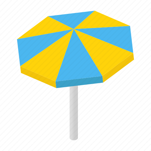 Isometric, umbrella, sun, sunshade, background, parasol, beach icon