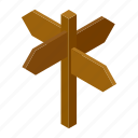 arrow, blank, isometric, post, road, signpost, street icon