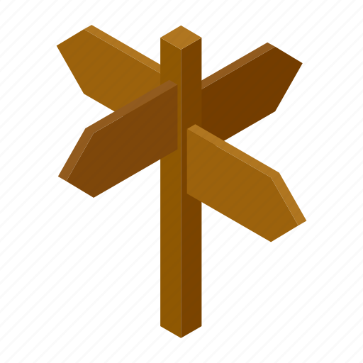 arrow, blank, isometric, post, road, signpost, street icon