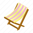 beach, chair, chaise, deck, deckchair, isometric, lounge icon