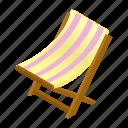 isometric, deck, lounge, chaise, chair, deckchair, beach