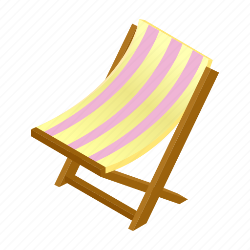 Beach, chair, chaise, deck, deckchair, isometric, lounge icon - Download on Iconfinder