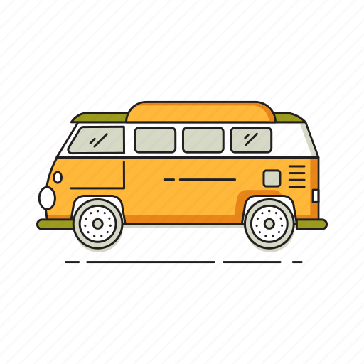 camper, car, hippie, journey, transportation, trip, vacation, van icon