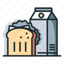breakfast, food, healthy, meal, milk, nutrition, sandwich icon