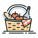 basket, food, meal, picnic, picnic basket, summer, vacation