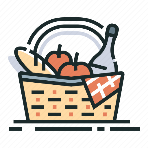 basket, food, meal, picnic, picnic basket, summer, vacation icon