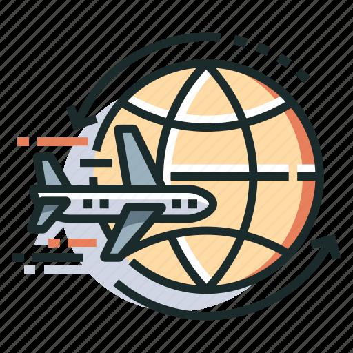 flight, journey, plane, round trip, travel, trip, world icon