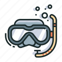 diving, goggles, leisure, scuba, snokeling, snorkel, travel icon