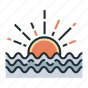 horizon, sea, sun, sunlight, sunrise, sunset, view icon