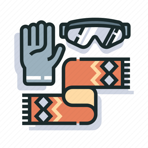 accessories, clothes, gloves, outfit, scarf, winter, winter accessories icon