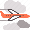 air, airplane, flight, plane, sky, travel icon
