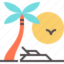 beach, palm, paradise, recreational, relaxation, voyage icon