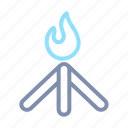 bon, burn, fire, firecamp, fireplace, flame, light icon
