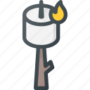 camp, fire, marshmallow, tourism, travel icon