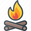 camp, camping, fire, log, tourism, travel icon