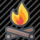 camp, camping, fire, log, tourism, travel