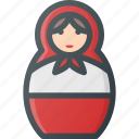 dall, matreshka, rissian, russia, tourism, travel icon