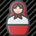 dall, matreshka, rissian, russia, tourism, travel icon