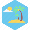 beach, nature, summer, sun, tree, vacation icon