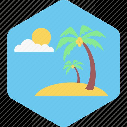 beach, nature, summer, sun, tree, vacation icon