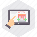 booking, connection, hotel, internet, network, online icon