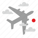 airbus, cloud, fly, sun icon