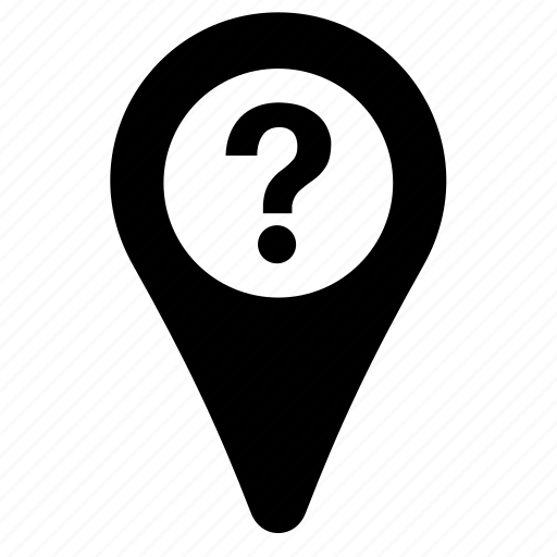 gps, location, map, marker, navigation, pin, question mark icon