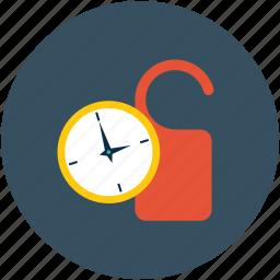 clock, do not disturb, door knob, schedule icon