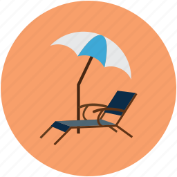 deck chair, summer, tropical beach, umbrella icon