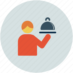 food serving, hotel, restaurant, waiter icon