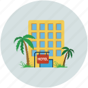 hotel, summer vacations, travel, tropical island icon